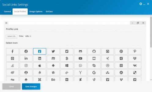 WebGatha Shortcode Social Links Social Profiles Settings