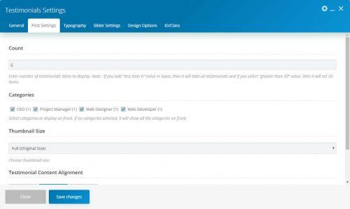 WebGatha Shortcode Testimonials Post Settings