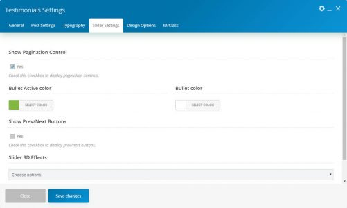 WebGatha Shortcode Testimonials Slider Settins