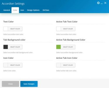 WebGatha Shortcode Accordion Color Settings