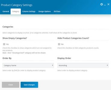 WebGatha Shortcode Product Category Settings