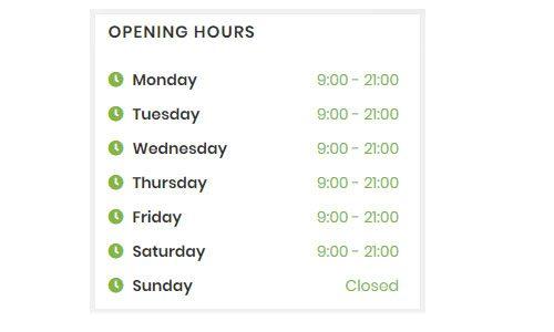 WebGatha Widget Opening Hours Front