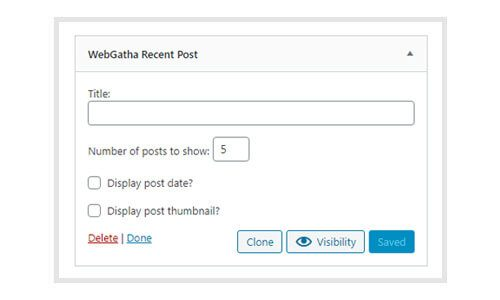 WebGatha Widget Recent Post Backend